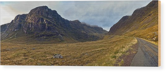 Highland Cliff Panorama Wood Print