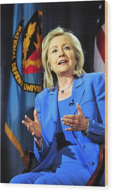 Hillary Clinton, Us Secretary Of State Wood Print by Everett
