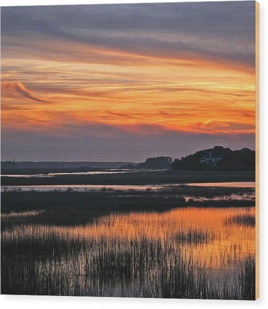 Hilton Head Sunset Wood Print