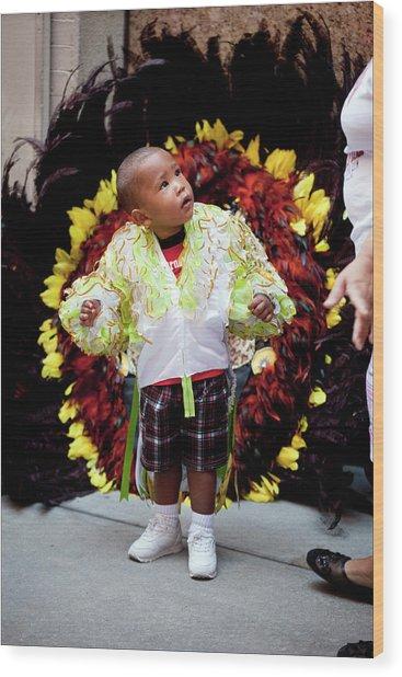 Hispanic Columbus Day Parade Nyc 11 9 11 Young Boy Preparing Wood Print by Robert Ullmann