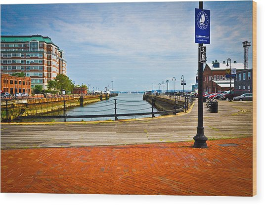 Historic Boston Boardwalk Wood Print by Erica McLellan