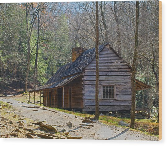 Historic Cabin On Roaring Fork Motor Trail In Gatlinburg Tennessee  Wood Print
