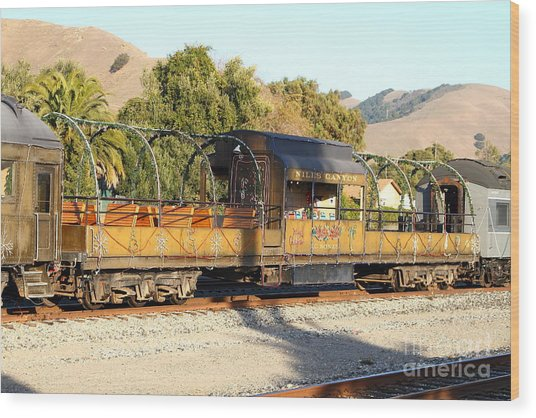 Historic Niles Trains In California . Old Niles Canyon Train . 7d10840 Wood Print by Wingsdomain Art and Photography