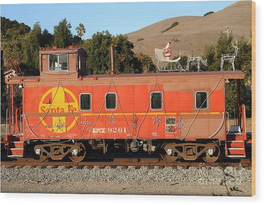 Historic Niles Trains In California . Old Sante Fe Caboose . 7d10832 Wood Print by Wingsdomain Art and Photography