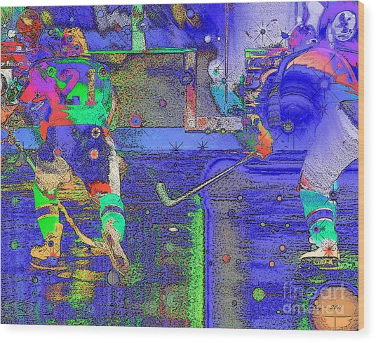 Hockey Abstract Wood Print by Rod Seeley