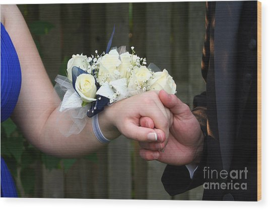 Holding Hand With Wrist Corsage Wood Print