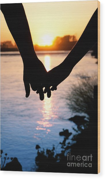 Holding Hands Silhouette Wood Print