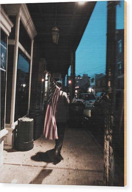Homeless Man Carrying American Flag In New Orleans Wood Print