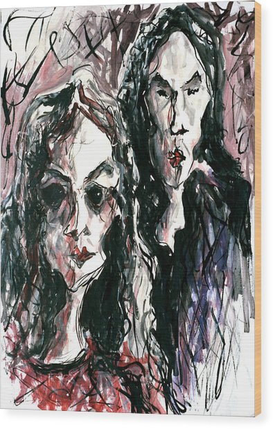 Homoline #36. Two Figures Wood Print