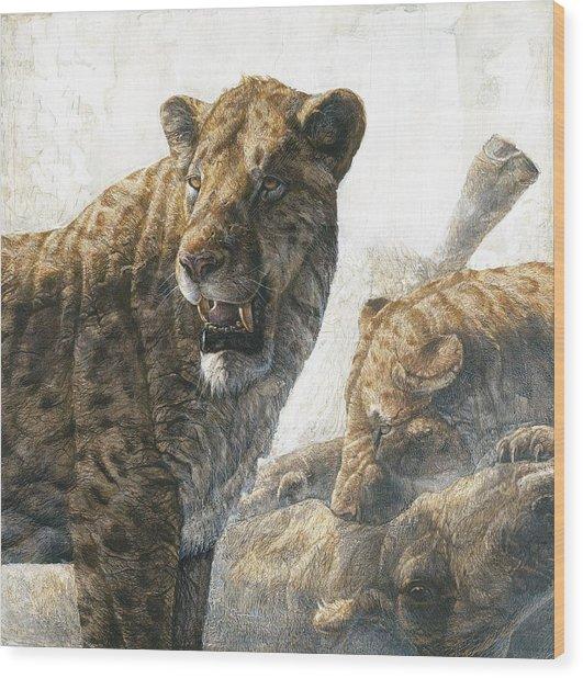 Homotherium Scimitar Cats Wood Print