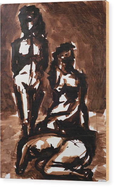 Homotrace #27. Three Figures Wood Print