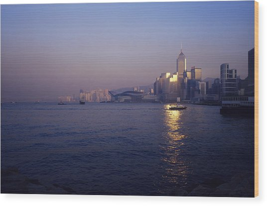 Hong Kong Harbour Wood Print by Carlos Dominguez