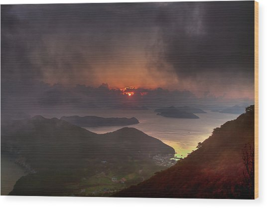 Hongpo Sunset South Korea  Wood Print