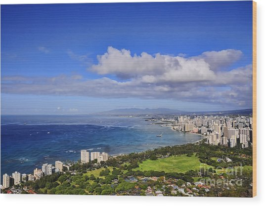 Honolulu From Diamond Head Wood Print