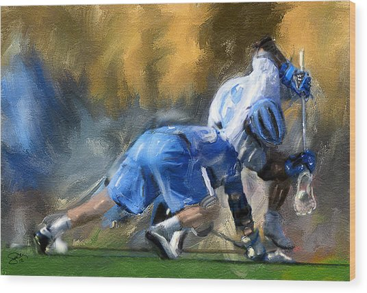 College Lacrosse Faceoff 3 Wood Print by Scott Melby