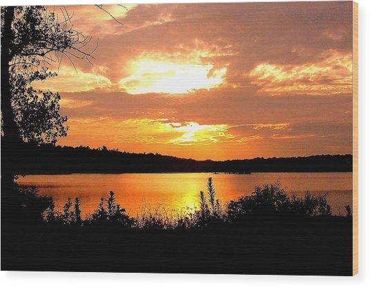 Horn Pond Sunset 2 Wood Print