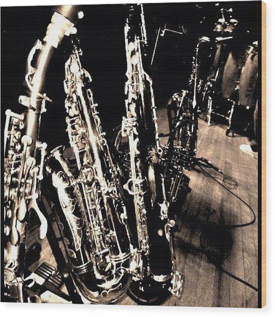 Horns #horns #housemusic #jazz #music Wood Print