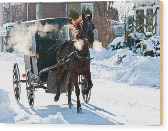 Horse And Buggy In The Snow Wood Print