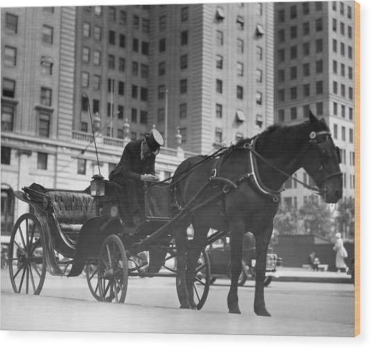 Horse Drawn Carriage, Nyc Wood Print by George Marks