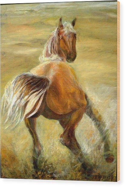 Horse In Field Wood Print
