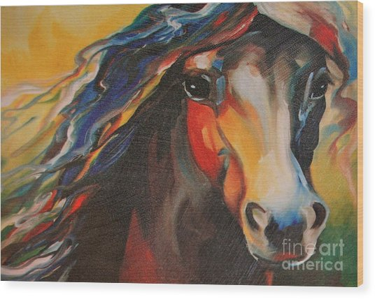 Horse Painting Wood Print
