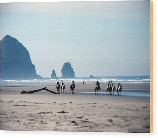 Horse Riders On Canon Beach Oregon Wood Print