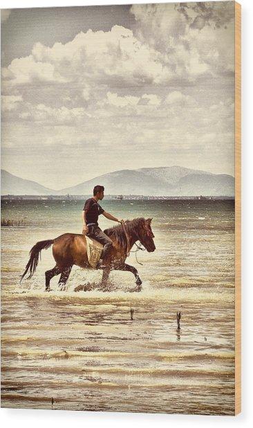 Horse Riding Wood Print