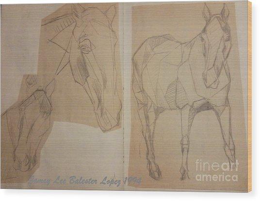 Horse Study Sketchbook Wood Print by Jamey Balester