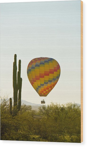 Hot Air Balloon In The Arizona Desert With Giant Saguaro Cactus Wood Print