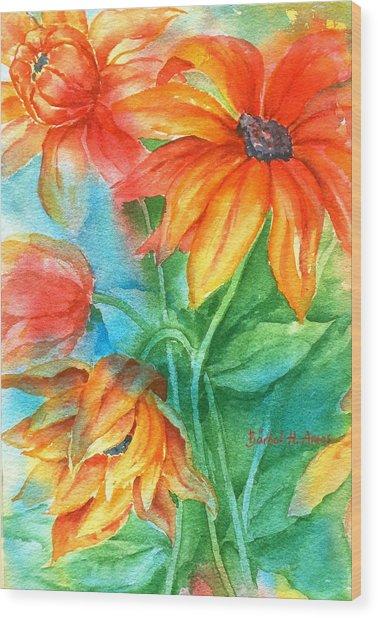 Hot Summer Flowers Wood Print