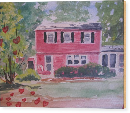 House Of Love Wood Print