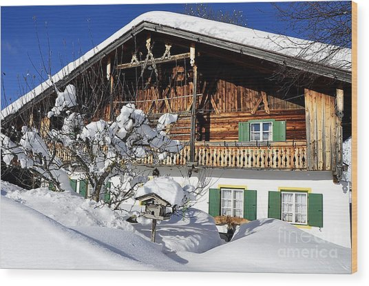 House Under Heavy Snow In Alps Wood Print