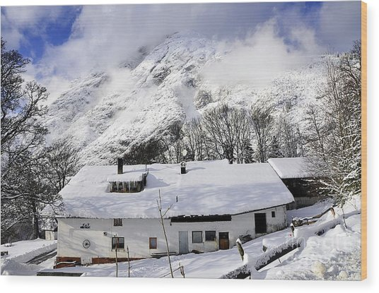 House Under The Alpine Peak Wood Print