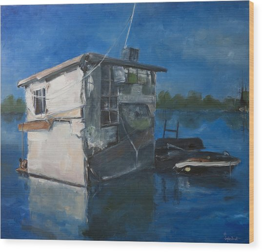 Houseboat Wood Print by Sophie Brunet