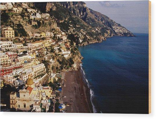 Houses And Church Of Santa Maria Assunta Above Spaggia Grande Beach, Positano, Italy Wood Print by Craig  Pershouse