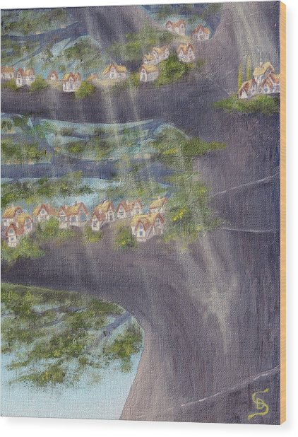 Houses In A Tree From Arboregal Wood Print