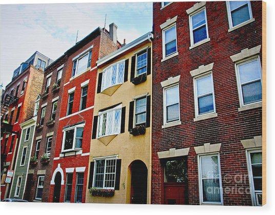 Houses In Boston Wood Print