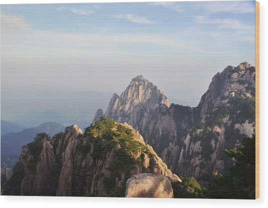 Huangshan Morning Wood Print