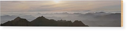 Huangshan Sunrise Panorama 1 Wood Print