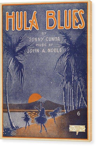 Hula Blues Wood Print