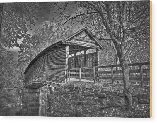 Humpback Bridge Bw Wood Print