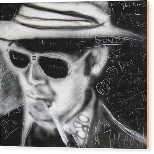 Hunter S Thompson American Dream  Wood Print by Jon Baldwin  Art