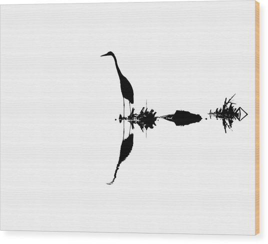 Hunting Heron Wood Print