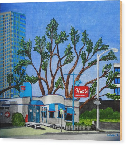 Hut's Hamburgers Austin Texas. 2012 Wood Print