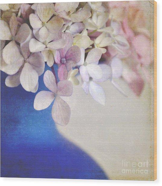 Hydrangeas In Deep Blue Vase Wood Print