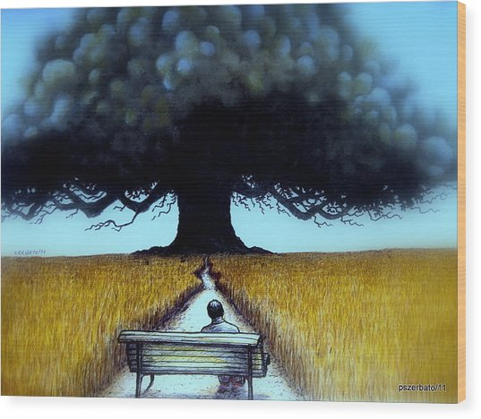 I Looked At The Abandoned Tree And I Not Saw Nests Neither Birds Wood Print