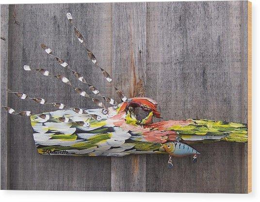 I Love Fish Wood Print