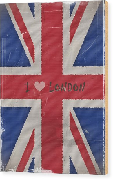 I Love London Wood Print by Sharon Lisa Clarke