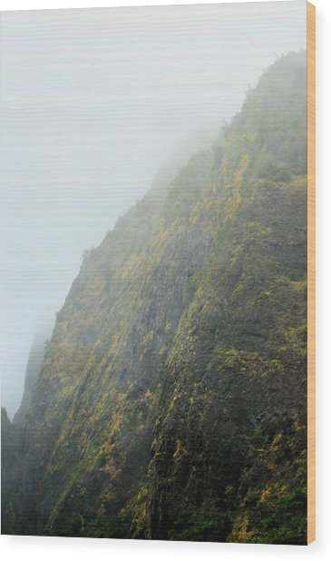 Iao Cliff Wood Print