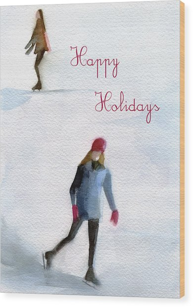 Ice Skaters Holiday Card Wood Print